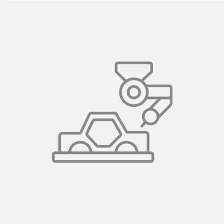 automated: Automated assembly line for cars line icon for web, mobile and infographics. Vector dark grey icon isolated on light grey background.