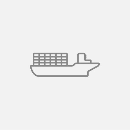 Cargo container ship line icon for web, mobile and infographics. Vector dark grey icon isolated on light grey background. Ilustração