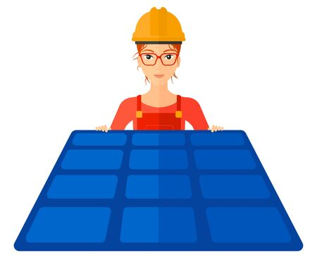 sun energy: A hipster constructor with solar pannel in hands vector flat design illustration isolated on white background. Horizontal layout.