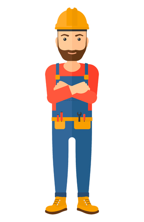 constructor: Confident hipster constructor standing with arms crossed vector flat design illustration isolated on white background. Vertical layout.