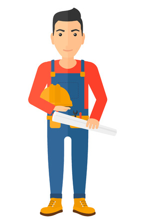 A happy engineer holding a hard hat and a twisted blueprint in hands vector flat design illustration isolated on white background. Vertical layout.