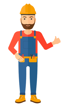 cartoon builder: A smiling young hipster builder with the beard in helmet showing thumbs up sign vector flat design illustration isolated on white background. Vertical layout.