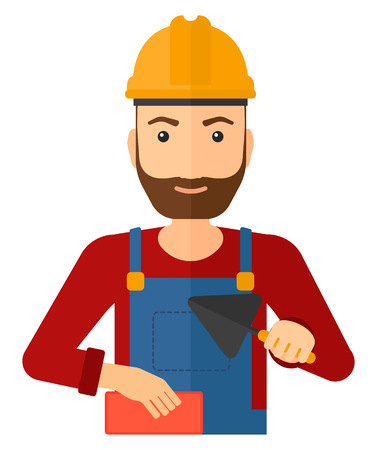 bricklayer: A smiling hipster bricklayer with a spatula and a brick in hands vector flat design illustration isolated on white background. Vertical layout.
