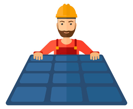 setup man: A hipster constructor with solar pannel in hands vector flat design illustration isolated on white background. Horizontal layout.