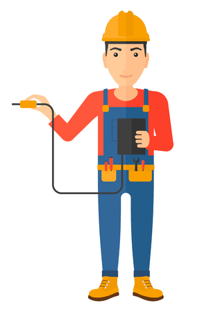 output: An electrician in helmet measuring the voltage output vector flat design illustration isolated on white background. Vertical layout. Illustration