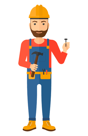 cartoon carpenter: A hipster repairman in helmet with a hummer and a nail in hands vector flat design illustration isolated on white background. Vertical layout.