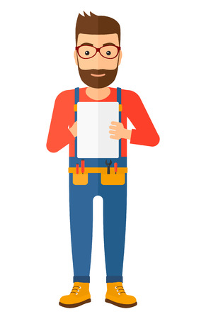 Confident  hipster builder with the beard making some notes in his tablet vector flat design illustration isolated on white background. Vertical layout.