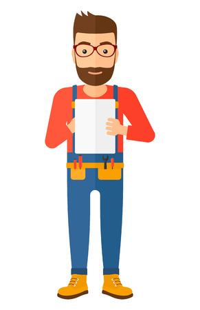 fontanero: constructor inconformista confiado con la barba hacer algunas notas en su tablilla vector ilustración de diseño plano aislados sobre fondo blanco. disposición vertical. Vectores