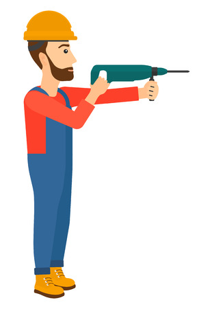 perforator: A hipster constructor with the beard drilling a hole using a perforator vector flat design illustration isolated on white background. Vertical layout.
