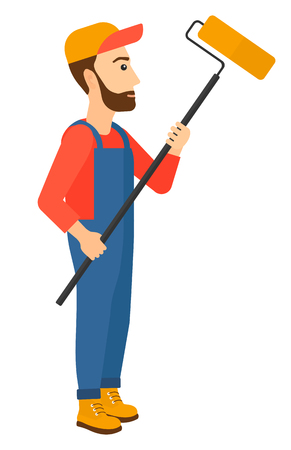 A painter standing with a paint roller vector flat design illustration isolated on white background. Vertical layout. Illustration