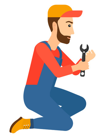 Young hipster repairman sitting with a spanner in hand vector flat design illustration isolated on white background. Vertical layout.