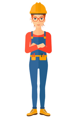 Confident constructor standing with arms crossed vector flat design illustration isolated on white background. Vertical layout.