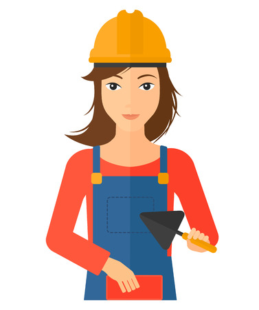 brick and mortar: A female bricklayer with a spatula and a brick in hands vector flat design illustration isolated on white background. Vertical layout.