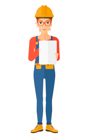 Confident  builder making some notes in his tablet vector flat design illustration isolated on white background. Vertical layout.
