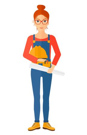 女性エンジニアは、白い背景で隔離の手ベクトル フラット デザイン イラストのハード帽子とツイストの青写真を保持しています。縦型レイアウト