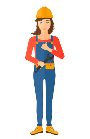 upkeep: A female repairer engineer with a spanner in hand showing thumb up sign vector flat design illustration isolated on white background. Vertical layout.