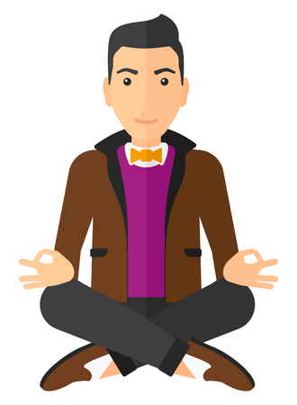 man meditating: A smiling caucasian man meditating in lotus pose vector flat design illustration isolated on white background. Vertical layout. Illustration