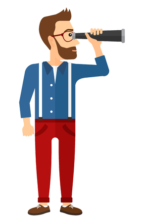 spyglass: A young hipster man with the beard looking through spyglass  vector flat design illustration isolated on white background. Vertical layout.