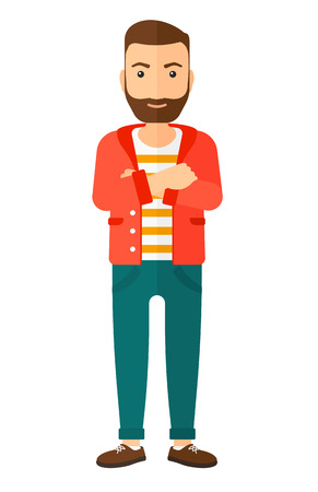 A happy standing man crossing his arms vector flat design illustration isolated on white background. Vertical layout.
