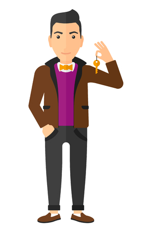 joyfull: A caucasian young man holding keys vector flat design illustration isolated on white background. Vertical layout. Illustration