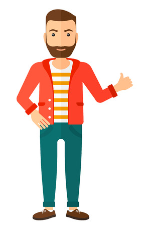 ecstatic: A happy young hipster man with the beard showing thumbs up sign vector flat design illustration isolated on white background. Vertical layout.
