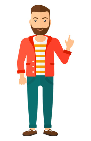 man pointing up: A happy young hipster man with the beard pointing up with his forefinger vector flat design illustration isolated on white background. Vertical layout.
