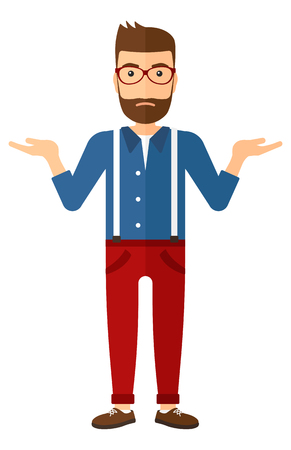 shocked man: A young hipster man with the beard gesturing with open arms vector flat design illustration isolated on white background. Vertical layout.