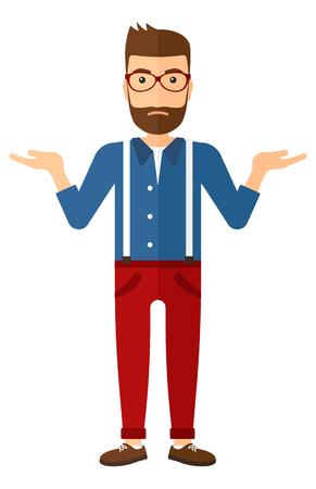 Een jonge hipster man met de baard gebaren met open armen vector platte ontwerp illustratie op een witte achtergrond. Verticale lay-out.