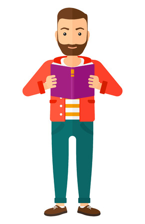 cheerful cartoon: A caucasian young hipster man with the beard standing and reading a book vector flat design illustration isolated on white background. Vertical layout.