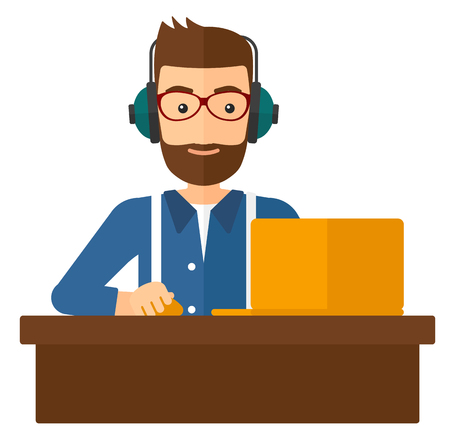 A happy young hipster man with the beard sitting at the table and working at the laptop vector flat design illustration isolated on white background. Square layout.