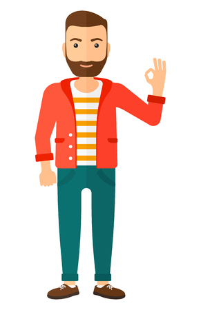 A happy young hipster man with the beard gesturing OK sign vector flat design illustration isolated on white background. Vertical layout. Illustration