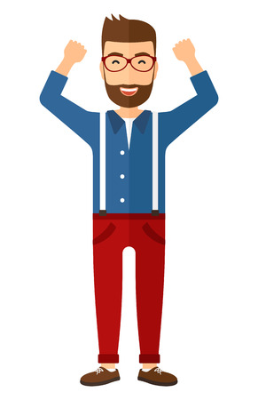 excited cartoon: A happy young hipster man in glasses with raised hands up vector flat design illustration isolated on white background. Vertical layout. Illustration