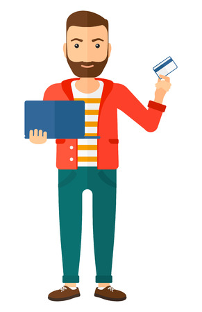 man holding card: A happy young hipster man with the beard holding a laptop and a credit card in hands making purchases online vector flat design illustration isolated on white background. Vertical layout.