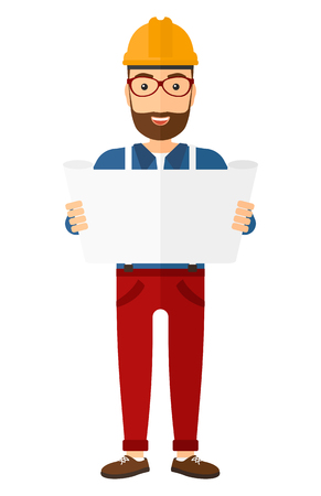 draftsman: An engineer with the beard considering a blueprint vector flat design illustration isolated on white background. Vertical layout.