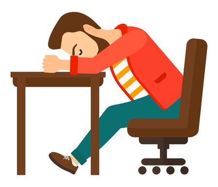 tired man: A tired young hipster man with the beard sleeping on table vector flat design illustration isolated on white background. Square layout.