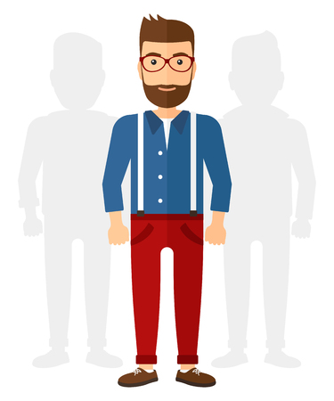 A caucasian young hipster man with the beard standing with two shadows behind him vector flat design illustration isolated on white background. Vertical layout.