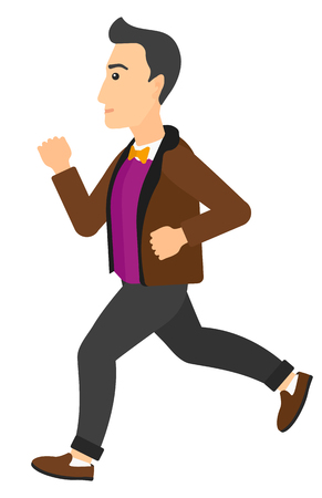 caucasian man: A caucasian man jogging vector flat design illustration isolated on white background. Vertical layout.