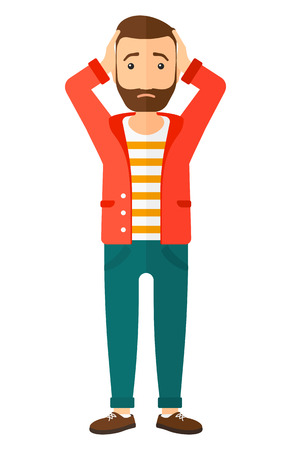 stressed businessman: A disappointed young hipster man with the beard standing and clutching his head vector flat design illustration isolated on white background. Vertical layout. Illustration