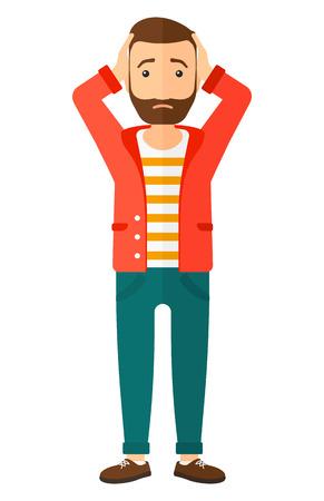 Een teleurgestelde jonge hipster man met de baard staan en klemde zijn hoofd vector platte ontwerp illustratie op een witte achtergrond. Verticale lay-out.