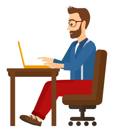 A young hipster man with the beard sitting at the table and working at the laptop vector flat design illustration isolated on white background. Square layout.