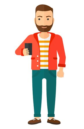 A happy young hipster man with the beard making selfie vector flat design illustration isolated on white background. Vertical layout.
