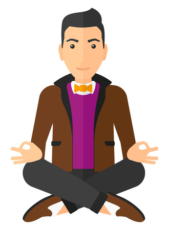 caucasian: A smiling caucasian man meditating in lotus pose vector flat design illustration isolated on white background. Vertical layout. Illustration