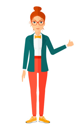 excited cartoon: A happy young woman showing thumbs up sign vector flat design illustration isolated on white background. Vertical layout.