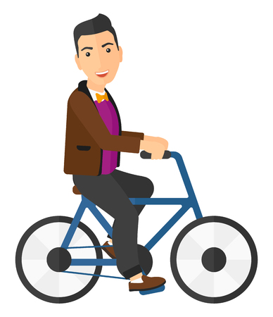 cartoon biker: A caucasian man riding a bicycle vector flat design illustration isolated on white background. Square layout.