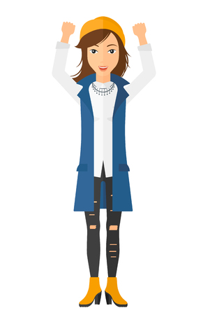 woman hands up: A happy young woman with raised hands up vector flat design illustration isolated on white background. Vertical layout.