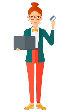 woman laptop: A happy young woman holding a laptop and a credit card in hands making purchases online vector flat design illustration isolated on white background. Vertical layout.