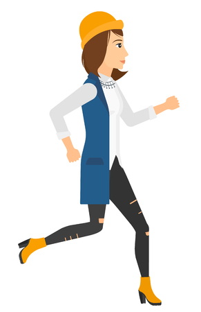 female student: A caucasian woman jogging vector flat design illustration isolated on white background. Vertical layout.