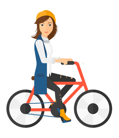 caucasian woman: A caucasian woman riding a bicycle vector flat design illustration isolated on white background. Square layout.