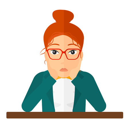 business failure: A disappointed young woman sitting at the table and clutching her head vector flat design illustration isolated on white background. Square layout.