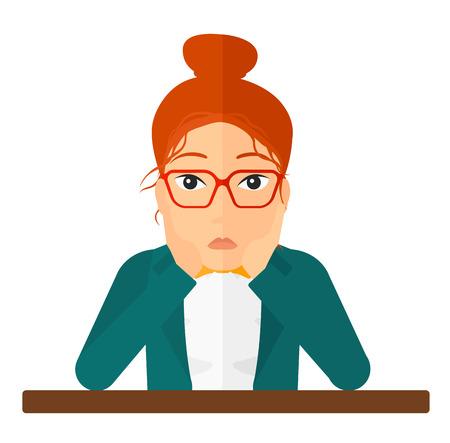 simbolo uomo donna: Una giovane donna delusa seduta al tavolo e stringendosi la testa illustrazione vettoriale design piatto isolato su sfondo bianco. Pianta quadrata. Vettoriali